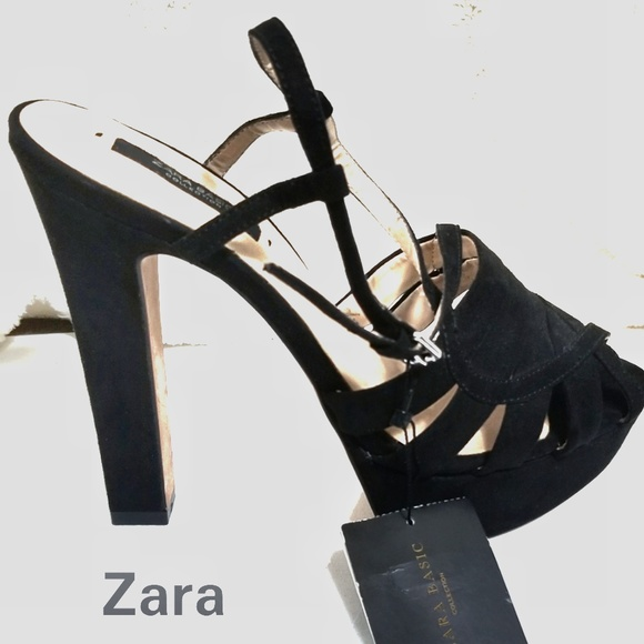 1a6baec0c7c NWT Zara Black Suede Like High Platform Heels